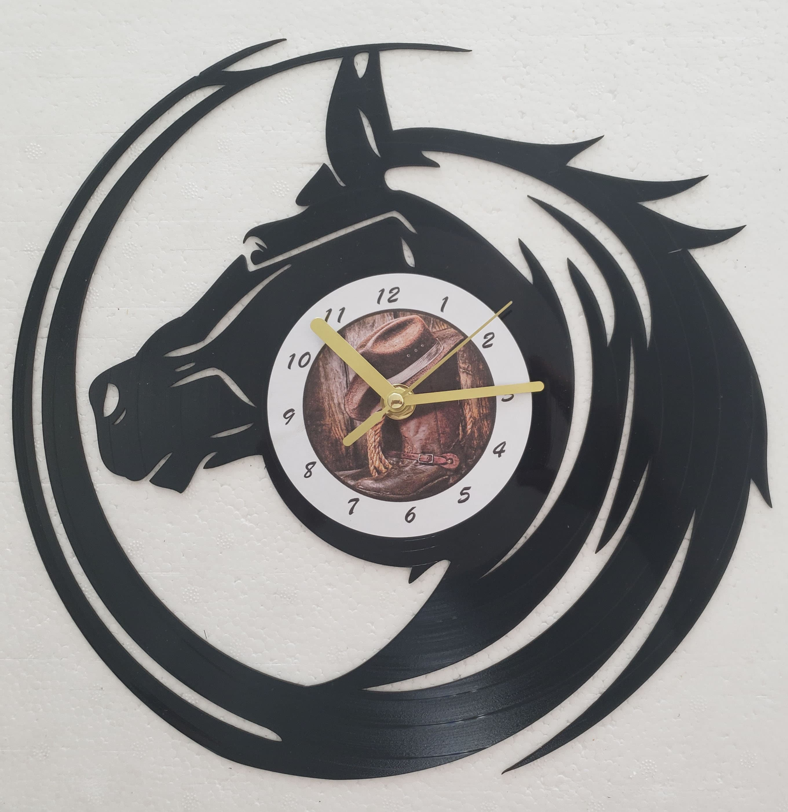 FREE Shipping!!FREE SHIPPING!! Rodeo, Horse, vintage re-purposed vinyl record clock