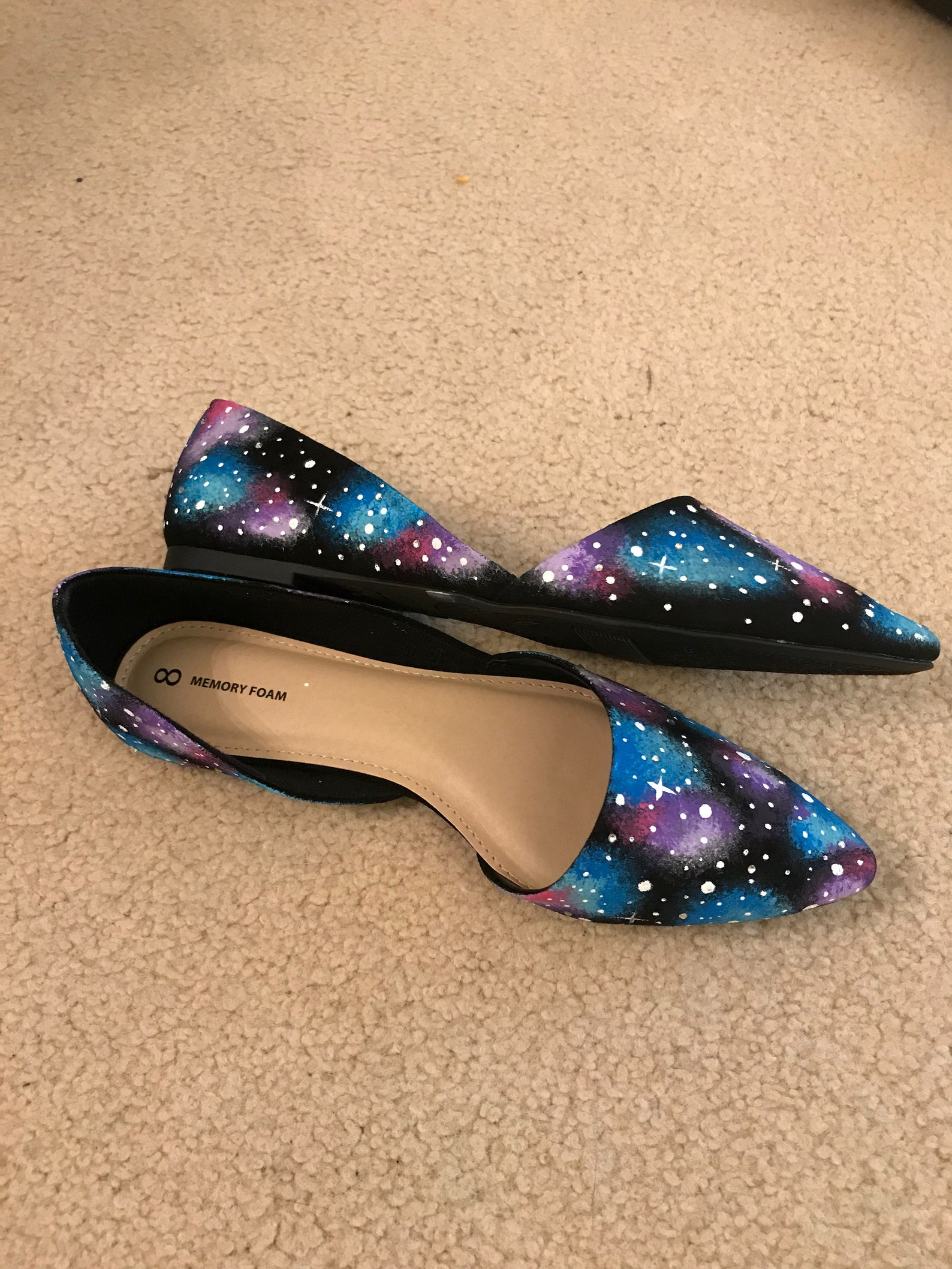 galaxy hand painted ballet flat pointed shoes with rhinestones. women's size 7.5 & size 8