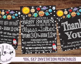 Printable Solar System Baby Shower/Birthday Invitation (DIGITAL FILE ONLY)