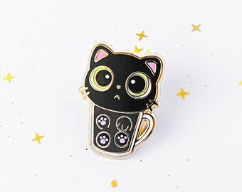 "1"" kitty in a mug hard enamel pin"