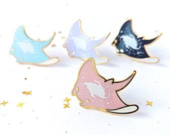 """1"""" galaxy manta ray hard enamel glitter pin"""