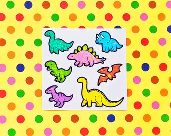 Tiny Dinosaurs holographic vinyl sticker for journaling, hobonichis, letters, laptops, waterbottles and more!