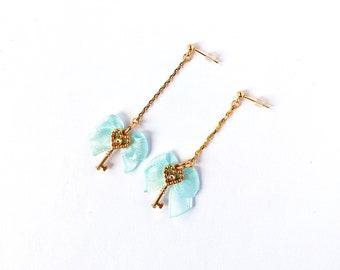 mint ribbon and gold handmade key earrings