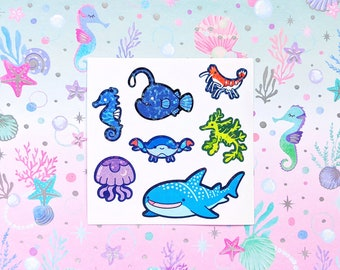 Tiny Ocean Critters holographic vinyl sticker for journaling, hobonichis, letters, laptops, waterbottles and more!