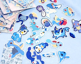Water type Pokemon holographic vinyl sticker set for journaling, hobonichis, letters, laptops and more!