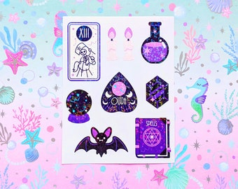 Witchcraft & Occult holographic vinyl sticker for journaling, hobonichis, letters, laptops, waterbottles and more!