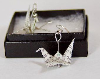 Origami Crane Earrings - Courier