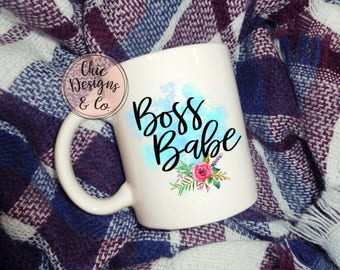 Boss Babe  Floral  Birthday gift  Valentine's Day  Gift  Christmas gift  Coffee Drinker  Tea Drinker  Coffee  Tea  Gift Girl  Gift