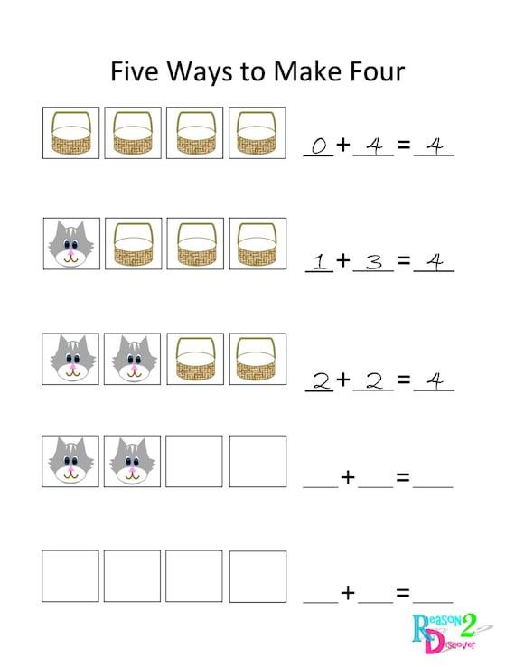 Number Building ~ Decomposing Numbers~ Addition~ Preschool, Kindegarten, 1st ~ File Folder ~ Reason2Discover