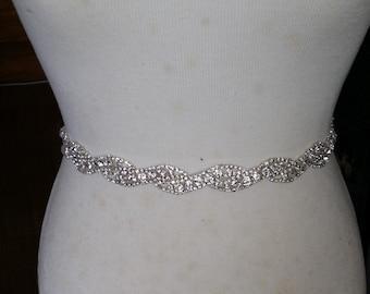 Silver Wedding Dress Sash/ Wedding Dress Belt/Crystal Sparkle Sash/ Rhinestone Sash/Wedding Dress Tie Back Belt