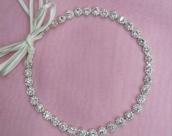 Bride Headband/Bridesmaid Headband/ Flower Girl Headband/ Rhinestone Sparkle Crystal Headband/Silver Wedding Head Piece/ Tieback Headband/
