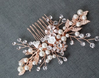 Rose Gold Floral Hair Comb Wedding Rose Gold Hair Vine Comb  Bride Wedding  Rose Gold Hair Piece Rose Gold Flower Hair Comb d69a7c4df98c