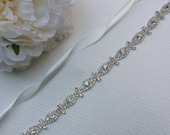 Silver Thin Wedding Dress Sash/ Wedding Dress Belt/Crystal Sparkle Sash/ Rhinestone Sash/Wedding Dress Tie Back Belt