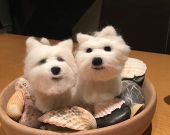 Mini needle felt Westie. Felt Dog. Dog lover gift. Westie Miniature. Gift. Pet lover. Westie Ornament. Handmade. Unique gift. Westie lover