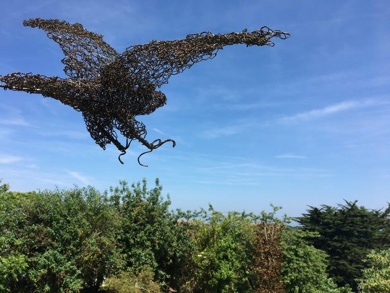 Draht Skulptur Habicht Metall Garten Skulptur Etsy