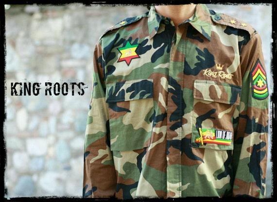 Roi Chemise De Reggae Army PersonnaliséDisponible L Taille Jah Roots Militaire En M Camo Rasta KlTJc31F
