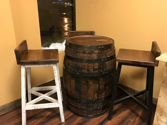 Wondrous Whiskey Barrel Bar With Wooden Stools Man Cave Gift Man Cave Decor Ocoug Best Dining Table And Chair Ideas Images Ocougorg