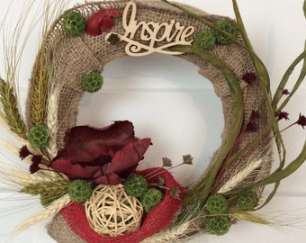 Dried Flower Wreath, 13 Inch, Burlap Wreath, All-Season Wreath, Inspirational Wreath, Front Door, Wall Decor, Cottage Chic, Made In Canada