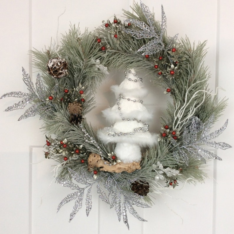Scotch Pine Christmas Tree.Scotch Pine Christmas Tree Wreath 23 Inch Winter Wreath Front Door Decor Wall Decor Scotch Pine Decor Front Door Made In Canada