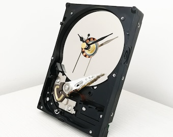 "Hard drive clock 3,5"", desk clock, industrial clock, gift for him, computer clock, hdd clock"