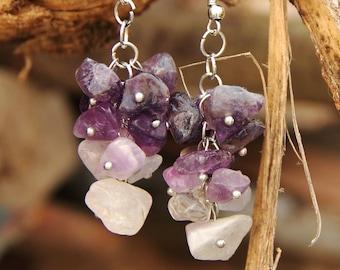 February Birthstone jewelry amethyst Jewelry amethyst earring Cluster earring  birthstone earring women earrings stone Jewelry purple earrin