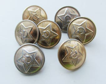 Vintage Army buttons soviet military buttons soviet buttons USSR buttons made in USSR old buttons Uniform Buttons Star buttons Sickle button