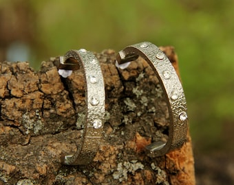girlfriend gift silver jewelry silver earring statement earring Rhinestone jewelry Rhinestone earring Botanical Jewelry Woodland jewelry 70s