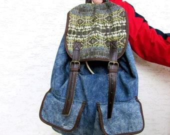6bab75bfd1 Jeans backpack Vintage Canvas Backpack bucket backpack bucket Bag Bag Denim  Rucksack Travel Backpack big Backpack Ethnic Backpack