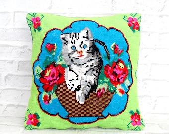 Folk Art Decorative pillow hand embroidered pillow Vintage rose pillow cat  Pillow Needlework Pillow needlepoint pillow mid century roses 058ef773c2