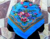 grandmother gift Wool scarf wool shawl floral scarf Vintage shawl Vintage Ukrainian shawl Russian shawl Shawl blue shawl