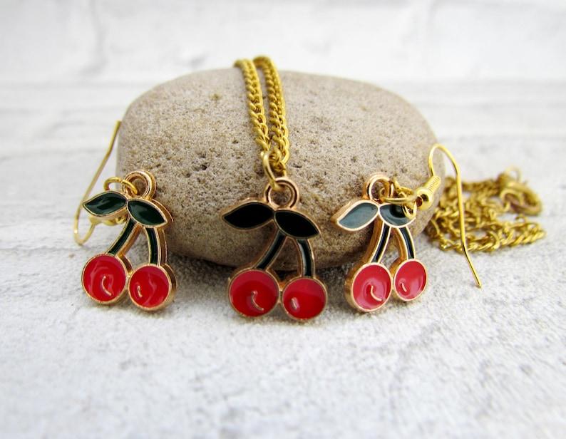 Dangle Earrings cherry jewelry cherry Earring cherries cherry image 0