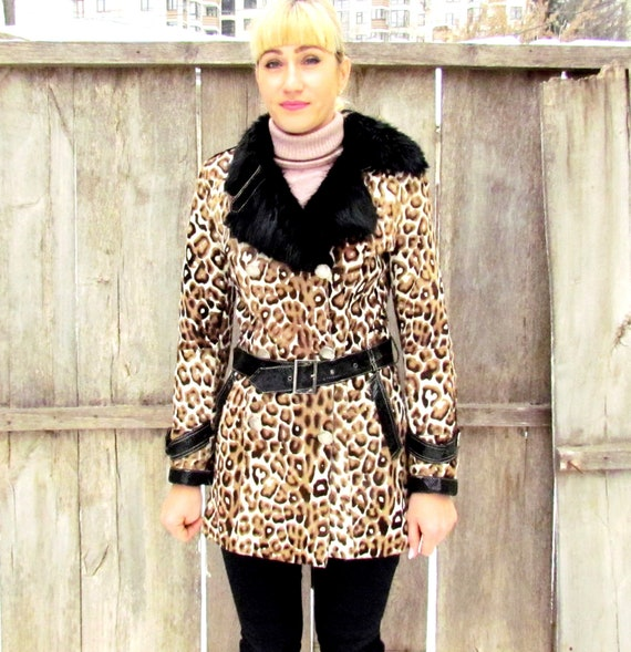 goat fur coat Vintage Womens coat leopard print co