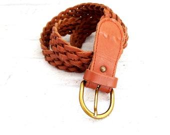 Western Woven Leather Belt  Vintage Womens belt for women accessories frank  brown leather belt cowgirl belt Ladies Belt brown belt L