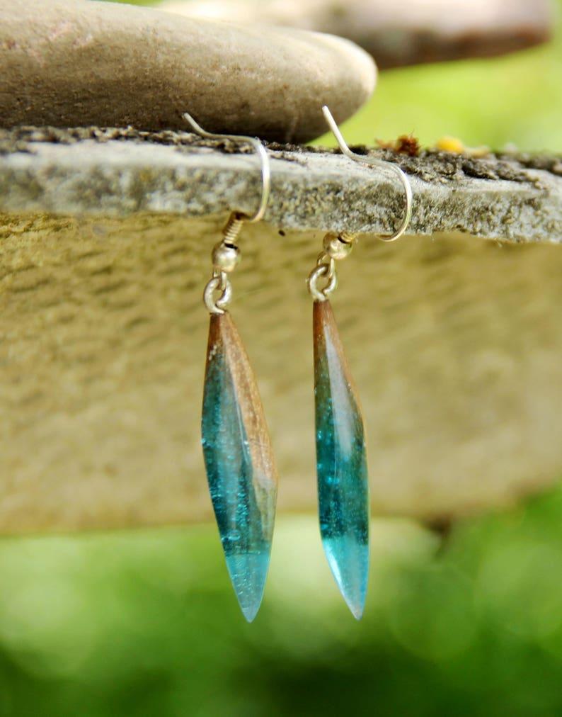 gift for Girlfriend rustic jewelry dangle earring drop earring Wood resin Jewelry Wood earring boho Jewelry Wooden jewelry Wooden earring