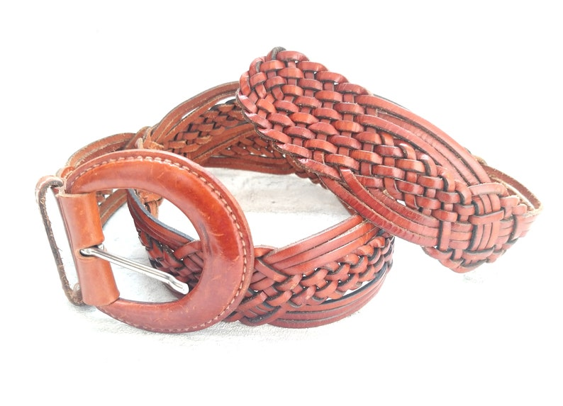 Western Woven Leather Belt  Vintage Womens beltforwomen image 0