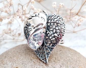 leaf jewelry Vintage leaf Ring Art deco jewelry Art deco ring 925 Sterling Silver Jewelry Silver Ring Victorian Jewelry Victorian Ring 8