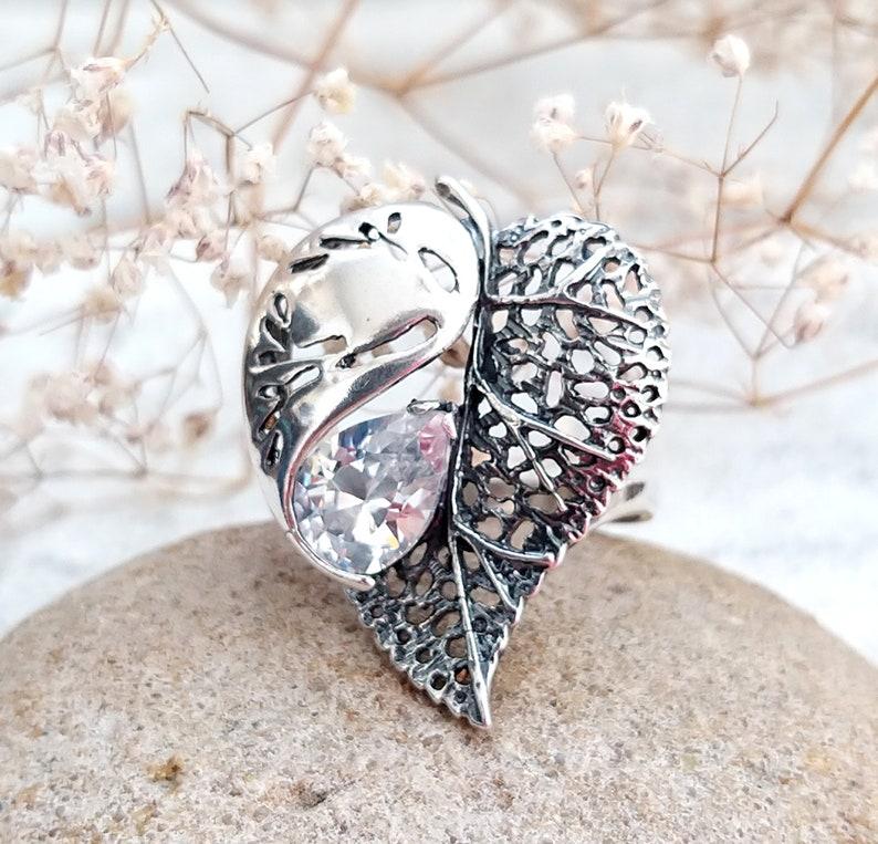 leaf jewelry Vintage leaf Ring Art deco jewelry Art deco ring image 0