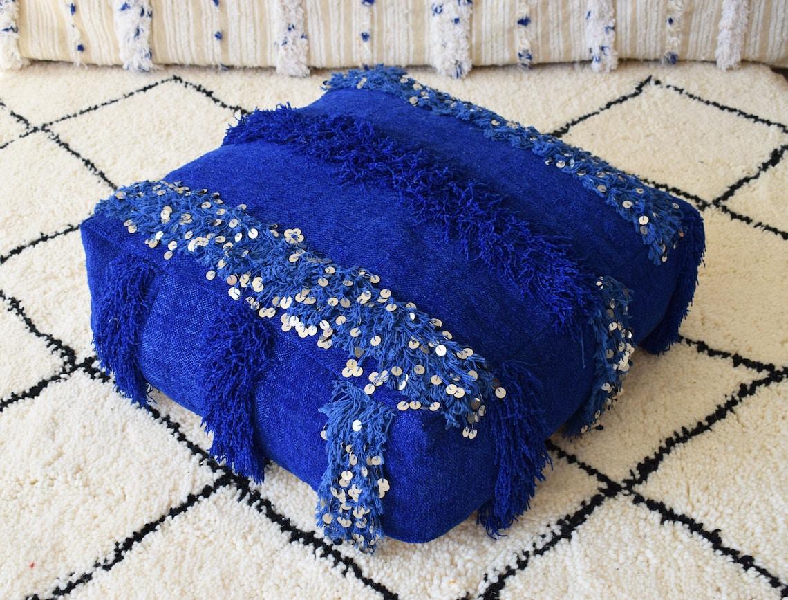 Moroccan handmade blue pouf, berber pouf, Handira pouf, blue handira Pouf, Floor pillow,Moroccan wedding blanket floor cushion,Moroccan pouf