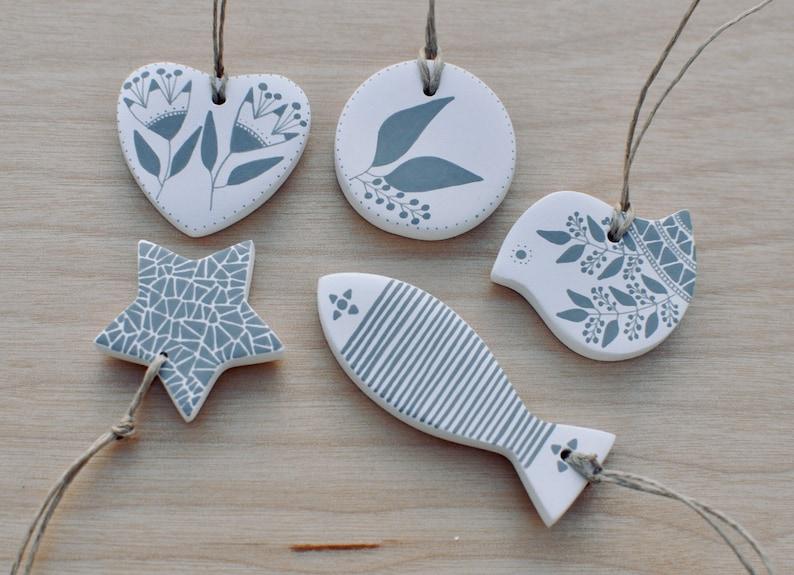 Miniature Christmas tree ornaments in white and gray set of 9 Scandinavian Christmas decor,Tiny Christmas tree decorations,Small Xmas decor