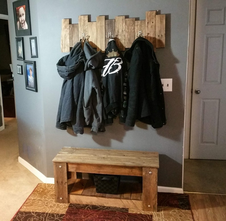 Entryway Shoe Bench And Matching Coat Rack Made From Reclaimed Pallet Wood