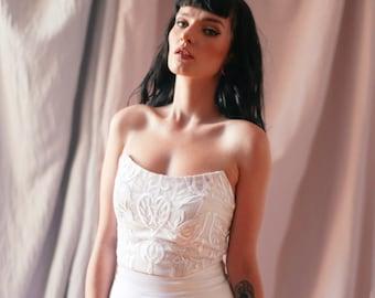 White Top, Wedding Bustier Top, White Wedding Top, Silk Top, Open Back Top, Bridal Separates Top, Wedding Clothing, Minimalist Top, Tube Top
