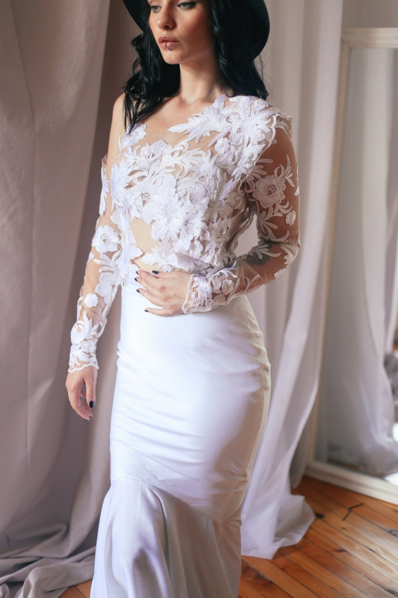 54e75d7db0405 Lace Bridal Top Tulle Top Long Sleeve Top Sheer Wedding   Etsy