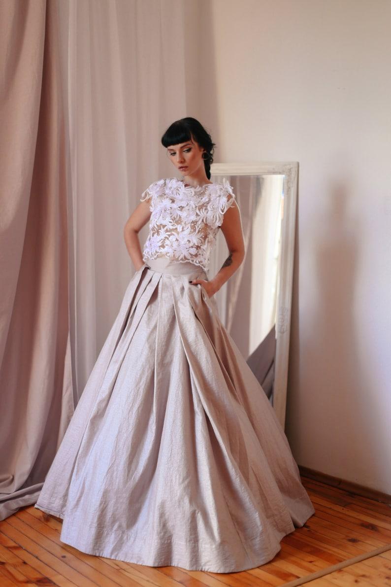 3ed3fe32a1 Jedwabna spódnica długie wesele spódnica Maxi spódnica