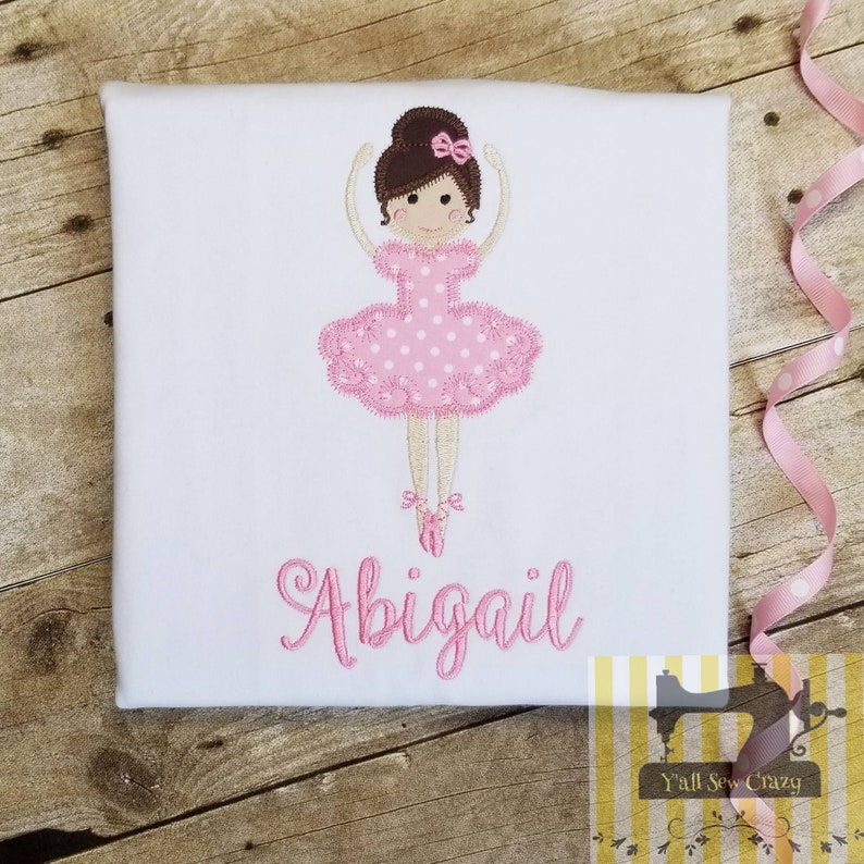 Girl's Personalized Ballerina Shirt, custom embroidery, applique