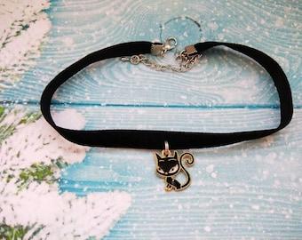 Velvet Choke Cat Choker Black Choker Crescent Choker Silver Choker Pendant Choker Kitty Choker Gypsy Choker Gift