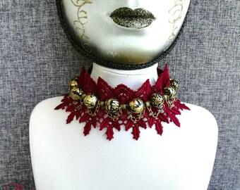 Choker Ruffle Elegant Burgundy Marsala Gold Beads Necklace Choker Inspirational Motheru0027s Day Gift Idea for Women Girls Holiday Jewelry & Holiday jewelry | Etsy
