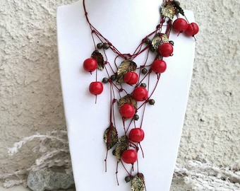 Cherry Fruit Berry Woodland Asymmetric Necklace Red Burgundy Long Boho Leaf Necklace Clay Jewelry Fruit Jewellery Birthday Gift for Women