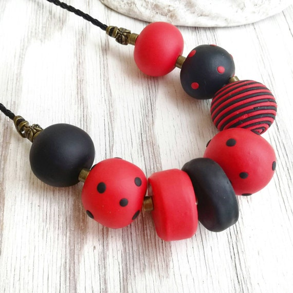 Red /& Black Clay Necklace Set