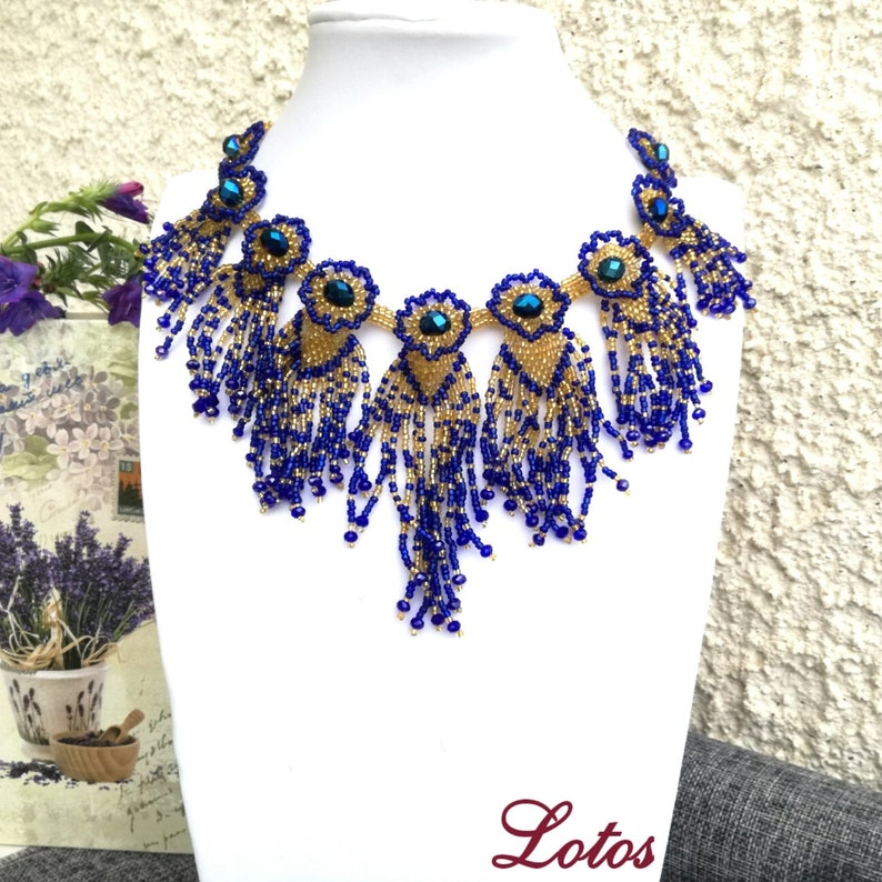 Gold Blue Native Necklace Choker Cobalt Blue Bib Necklace Beaded of Seed Bead Crystal Unique Jewelry Gift for Women One of a Kind