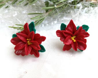 BUY 2 GET 1 FREE Stud Red Blue Poinsettia Christmas 2017 Star Earrings ClayTraditional Earrings Christmas Gift Idea for Friends Wife Sister